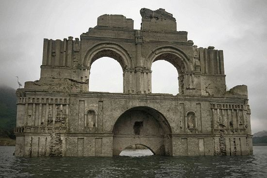 The dam was built in 1966 and submerged the church entirely