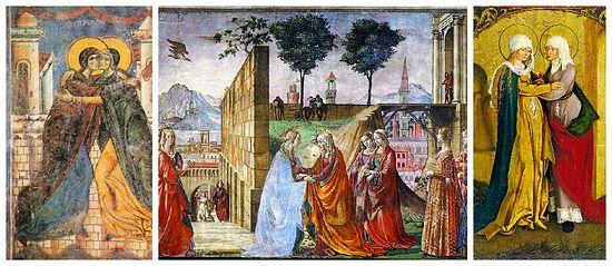"""Встреча Марии и Елисаветы (Лк. 1, 39-56), состоявшаяся сразу после Благовещения, не только укрепила Богородицу в Ее служении, не только прославила Ее родственницу как пророчицу и мать пророка, но и показала христианину, что ребенок от зачатия избран и любим Богом. """"Иоанн, когда еще был в чреслах Захарии, - пишет преподобный Ефрем Сирин, - подобно и Левию в чреслах Авраама, уже служил Господу и ожидал Его, как цвет месяца арекк, молчаливо возвещающий о грозди, которая источена среди Иерусалима"""""""