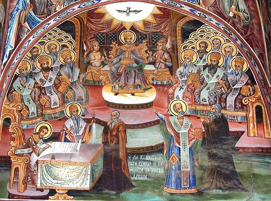 The First Ecumenical Council. Fresco, the Great Lavra, Mt. Athos.