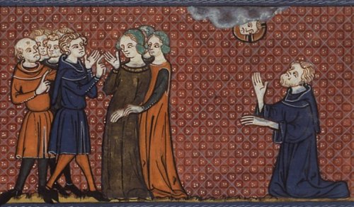 Pelgaia among her courtesans, as St Nonnus prays for her (14th-century MS)