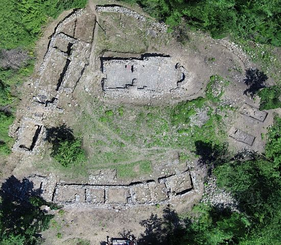 An aerial view of part of the ruins of the 15th-17th century AD St. Iliya Monastery at the Urvich Fortress near Bulgaria's capital Sofia, upon the completion of the 5-year excavations of the monastery. Photo: Archaeological Team, National Museum of History