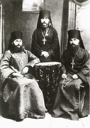 Епископ Феодор (Поздеевский), иеромонах Герасим (Садковский), архимандрит Герман (Ряшенцев). 1916 г.