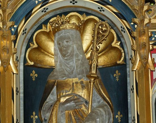 Figure of St. Ethelburgh in chancel of the Lyminge church, Kent