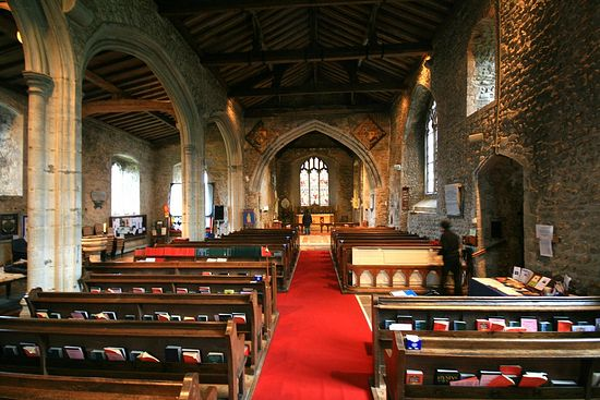 Interior of the Church of Sts. Mary and Ethelburgh in Lyminge, Kent