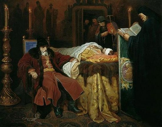 Ivan the Terrible near the body of his son Ivan Ivanovich, whom he murdered in a fit of rage. By Vyacheslav Schwarz. (1864) (Public Domain)