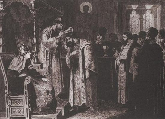 Feodor puts a golden chain on Boris Godunov. By Aleksey Danilovich Kivshenko. (Public Domain) Feodor was a weak Tsar and Boris Godunov was one of his most prominent councilors. Many scholars also suspect Godunov is responsible for Dmitri's exile and assassination.