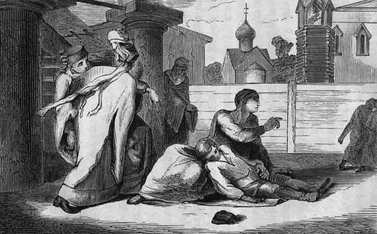 Engraving depicting the murder of Tsarevich Dmitri of Uglich (1870) (Public Domain)
