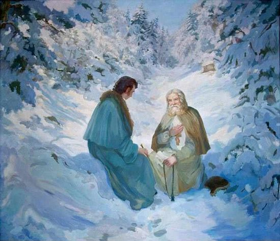 St. Seraphim's conversation with Motovilov in which he showed him the light of the Holy Spirit