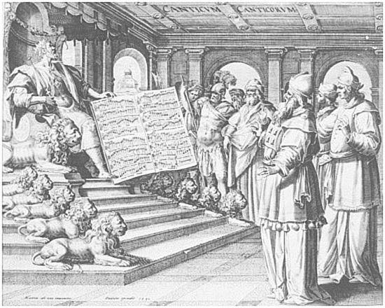 Царь Соломон на троне. Песнь песней. Мартин де Вос, 1590 год