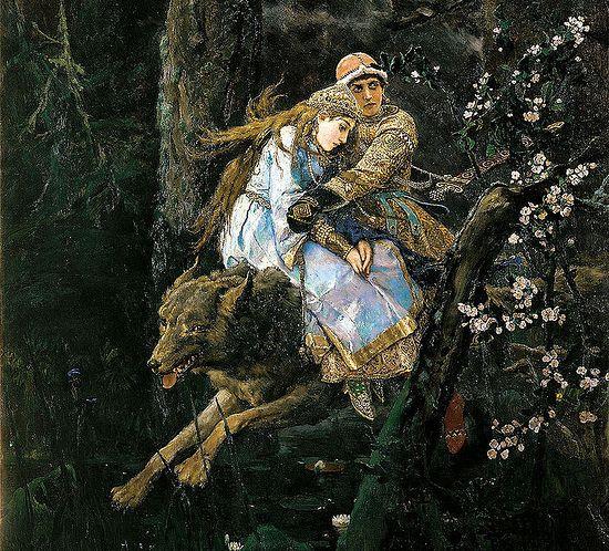Ivan Tsarevich Riding a Grey Wolf. Artist: Viktor Vasnetsov