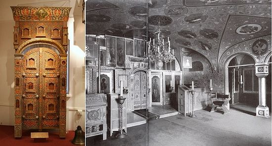 One of the most interesting items on display at the exhibit is the well-preserved royal gates (left) of the house church (right) of the Governor-General's residence in Moscow. The residence of Grand Duke Sergey Alexandrovich and Grand Duchess Elizabeth Foedorovna was situated at Tverskaya 13. In the Spring of 1891, Grand Duke Sergey Alexandrovich was appointed Governor-General by his brother, Emperor Alexander III. Sergey served the vice regal role of Governor General ruling Prince of Moscow until his assassination by a terrorist on February 17, 1905.