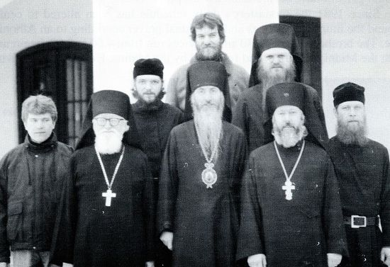 The brotherhood of St. Job of Pochaev monastery in 1990. Novice Laurence is at the very right of the first row