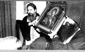 Jerusalem icon of the Most Holy Mother of God began to stream myrrh in 1995. On the photo Fr. Nikolai with Fr. Aleksei (Biron) in 1996