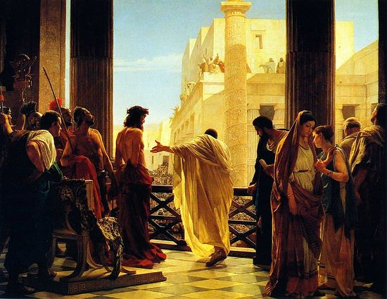 "Antonio Ciseri's portrayal: Ecce Homo (""Behold, the Man!""). Pontius Pilate presents scourged Jesus Christ to Jerusalem residents, with grieving Pilate's wife in the right corner."