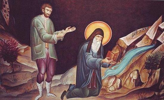 Святой Арсений извлекает воду из святого источника. Изображение на стене в трапезной монастыря Суроти