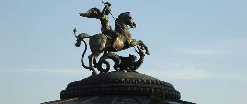 Russia sees itself as the dragon slayer. St George is the patron saint of Moscow. This statue is a few meters from the Kremlin.