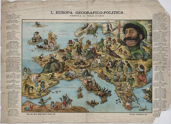 Географическо-политическая карта Европы. 1870-е гг.