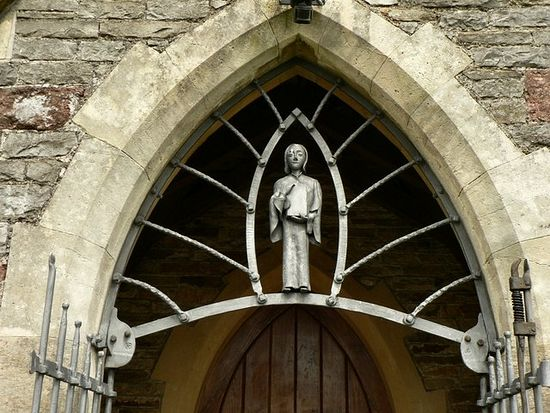 Iron figure of St. Illtyd, Llanharry Church, Wales