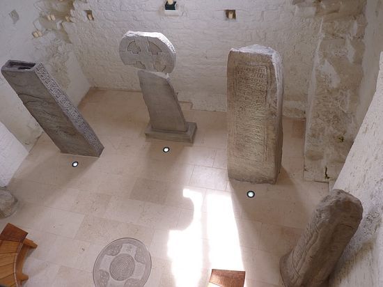 Llantwit Major - inscribed Celtic stones in Galilee Chapel