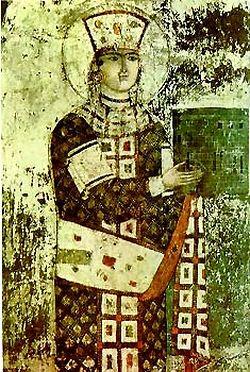 Царица Тамар. Фреска из монастыря Вардзиа.