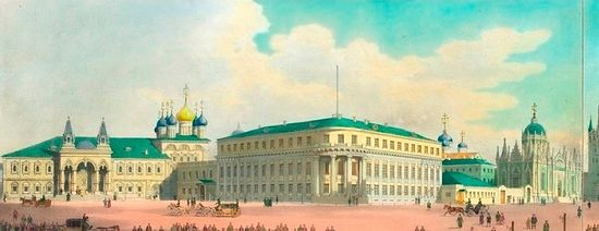 The historic watercolor shows (from left to right): the Chudov Monastery, the Small Nicholas Palace, and the Ascension Convent, which were demolished in 1929, to make way for the Soviet era building which would house the offices of the Presidium of the Supreme Soviet until 2011.