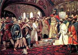 Иван III топчет послание хана Ахмата. Картина А.Кившенко, XIX в