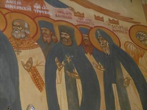 A fresco of the Optina martyrs from a northern Moscow parish
