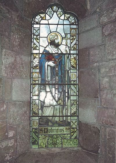 St. Dyfrig (Dubricius) with a hedgehog