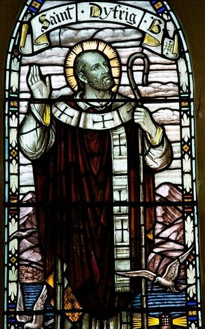 Stained glass of St. Dyfrig in Church of St. Margaret, Mountain Ash, Rhondda Cynon Taff(photo by Martin Crampin)
