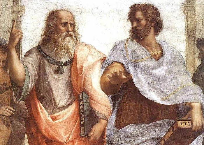 Платон и Аристотель. Фрагмент картины Рафаэля
