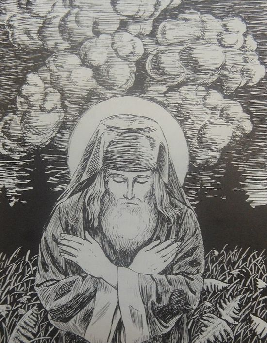 St. Herman praying for the world: Spending nights on end wandering in the wilderness as his beloved elder, Abbot Nazarius, used to do.