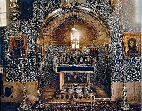 "The altar of the ""Holy of Holies"" of St. Catherine's Monastery is placed directly over the roots of the Burning Bush, which still thrives outside the chapel. (Photo Credit: Bruce M. White Photography)"