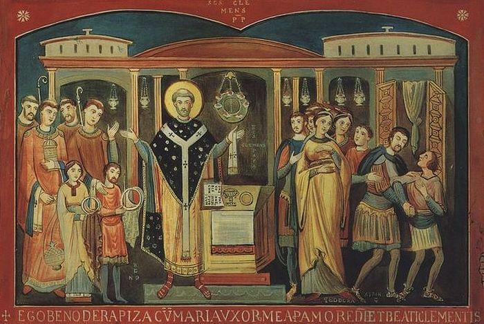 Священномученик Климент Римский. Фреска базилики св. Климента в Риме
