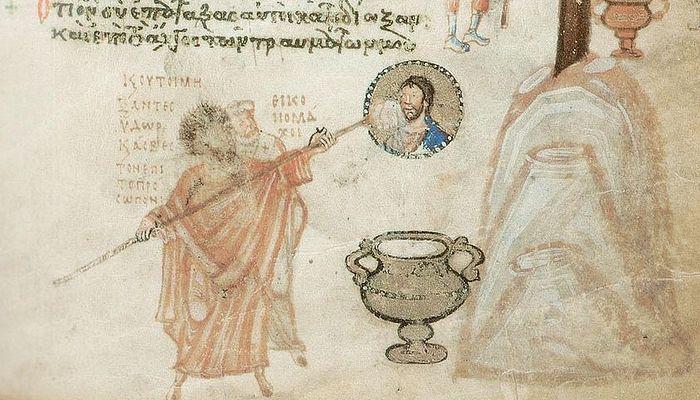 Иконоборец покушается на лик Христа. Миниатюра Хлудовской Псалтири