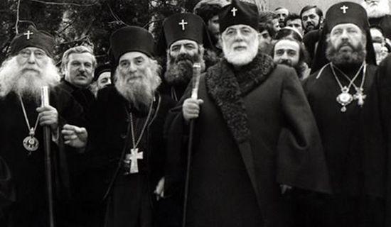 Патриарх Илия II, старец Гавриил (слева) и архиереи Грузинской Церкви