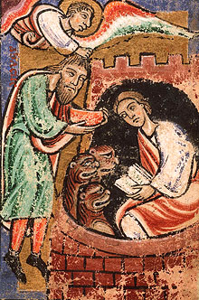 Был в Иудее пророк Аввакум, который, сварив похлебку и накрошив хлеба в блюдо, шел на поле, чтобы отнести это жнецам. Но Ангел Господень сказал Аввакуму: отнеси этот обед, который у тебя, в Вавилон к Даниилу, в ров львиный. Аввакум сказал: господин! Вавилона я никогда не видал и рва не знаю. Тогда Ангел Господень взял его за темя и, подняв его за волосы головы его, поставил его в Вавилоне над рвом силою духа своего. И воззвал Аввакум и сказал: Даниил! Даниил! возьми обед, который Бог послал тебе. Дан. 14:33–37