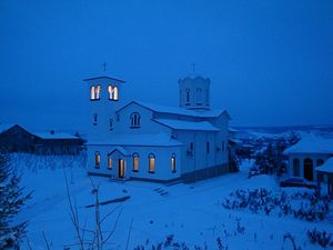 The monastery in the night of winter