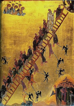 The 12th century Ladder of Divine Ascent icon (Saint Catherine's Monastery, Sinai Peninsula, Egypt) showing monks, led by John Climacus, ascending the ladder to Jesus, at the top right.