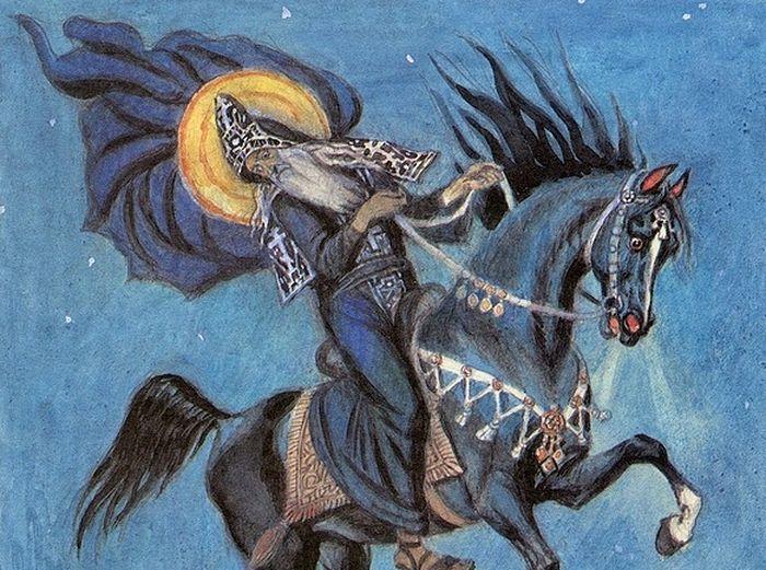 Святитель Иоанн Новгородский летит на бесе в Иерусалим