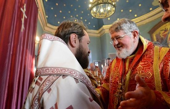Bishop David greeting Metopolitan Hilarion while serving at St. Catherine's