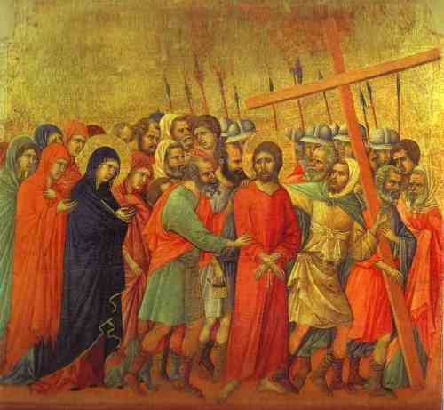 The carrying of the cross. Duccio di Buoninsegna.