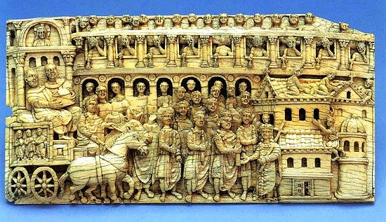 Depiction of a procession with a reliquary, ivory. Byzantium. 5th or 6th c.