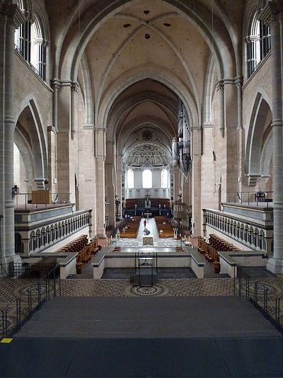 Looking west along the Nave at Saint Peter's Cathedral in Trier
