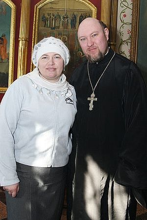 Priest Igor Zyryanov with wife Elena after his ordination.