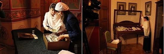 Staff carefully unpack the precious box containing the personal items of Grand Duchess Elizabeth Feodorovna, and place them in a display case at the Museum of the Holy Royal Martyrs in Ekaterinburg.