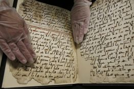 A fragment of a Quran manuscript is seen in the library at the University of Birmingham in Britain July 22, 2015. A British university said on Wednesday that fragments of a Koran manuscript found in its library were from one of the oldest surviving copies of the Islamic text in the world, possibly written by someone who might have known the Islamic prophet Mohammad. Radiocarbon dating indicated that the parchment folios held by the University of Birmingham in central England were at least 1,370 years old, which would make them one of the earliest written forms of the Islamic holy book in existence.