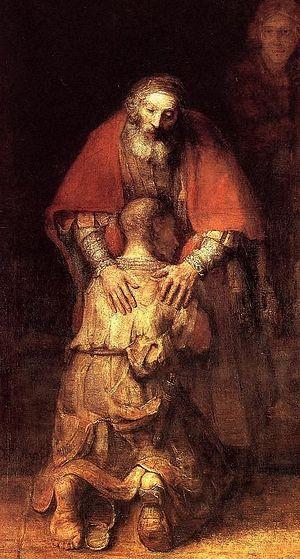 Рембрант Харменсон ван Рајн. Повратак блудног сина, 1669. г. Фрагмент слике
