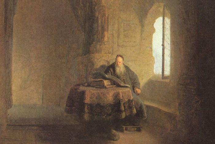 Рембрандт. Святой Анастасий Синаит в монастыре. 1631 г. Фрагмент