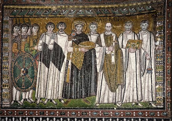 Emperor Justinian and his attendants