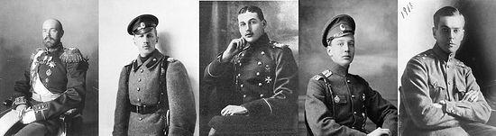 L to R: Grand Duke Sergei Mikhailovich, Prince Ioann Konstantinovich, Prince Konstantin Konstantinovich, Prince Igor Konstantinovich, Prince Vladimir Paley